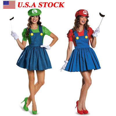 Women's Super Mario AND Luigi Workmen Skirt Version Adult Costume Fancy Dress