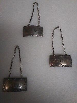 Stieff Williamsburg Wine Bottle Tags Set Of Three Sterling Silver