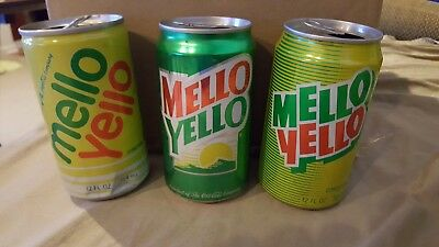 MELLO YELLO LOT OF 3  12oz. ALUMINUM SODA POP CANS