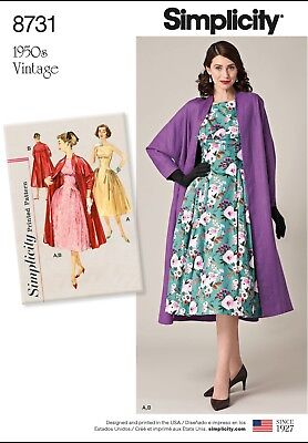 S8731 Simplicity 8731 Sewing Pattern VTG 1950s Dress Lined Coat Sizes 14-22