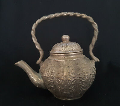 Chinese old hand carved silver bronze teapot  a8001