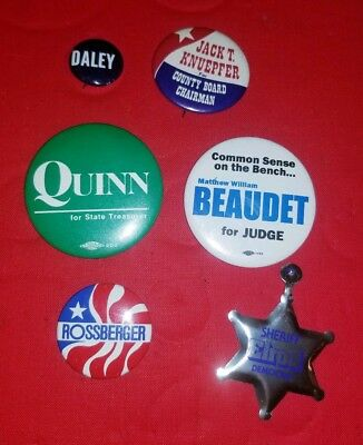 Vintage State Of Illinois /Chicago Political Pinback Lot  Elrod Quinn Daley