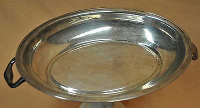Old Metal Handled Silverplate Serving Snack Tray Candy Nut Dish Server