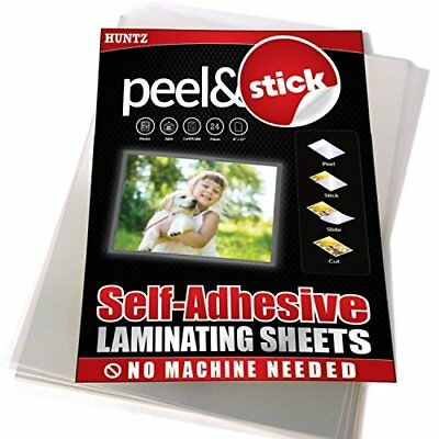Huntz Self-Adhesive Laminating Sheets, Clear Letter Size 9 x 12 inches, Pack of