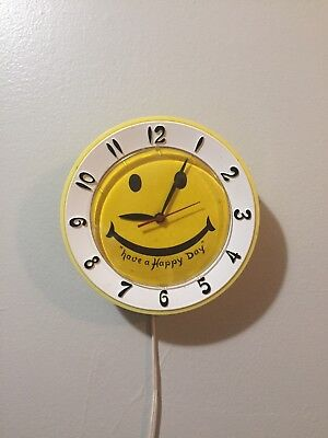 Vintage Lux Wall Clock Smiley Face yellow & white Have a Happy Day