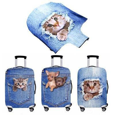 3D Cat Dog Suitcase Protector Elastic Luggage Trolley Case Cover Durable S-XL AU
