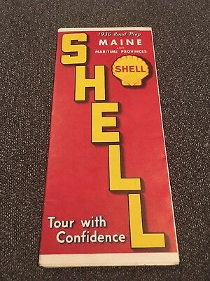 Vintage1936 Shell Road Map Of Maine