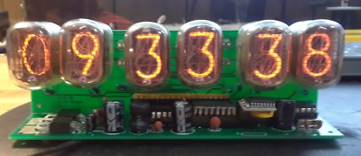retro nixie clock six digits tabletop style  with 12 or 24 hour display.