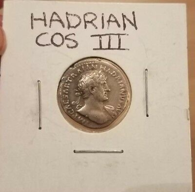 Ancient Roman Coin: HADRIAN COS III/Salus seated on reverse.  Silver Denarius
