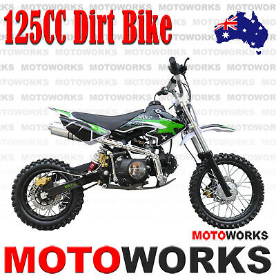 MOTOWORKS 125CC DIRT TRAIL PIT MOTOR 2 WHEELS PRO BIKE Kick start green