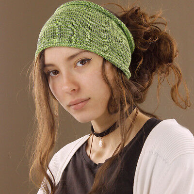 Headband Bright Green Lime Hippy Boho Scrunch Stretch Nepalese 100% Cotton Wide