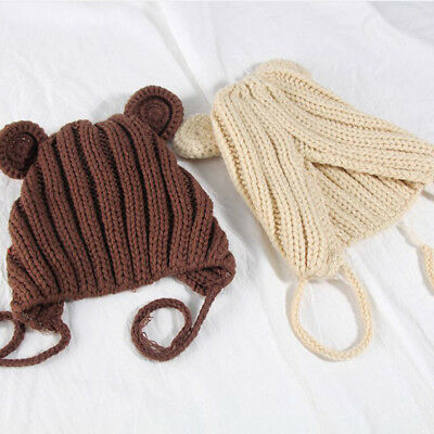 Winter Hats Warm Bear Ears Hedging Cute Wool Cap for Children Babies 0-2 Years