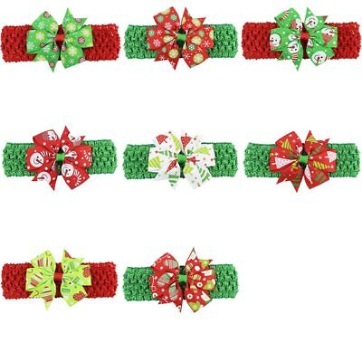 4Pcs Kids Girls Baby Bowknot Chiffon Headband Infant Toddler Christmas Hairband