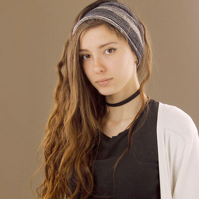 Headband Black White Grey Hippy Boho Scrunch Stretch Nepalese 100% Cotton Wide