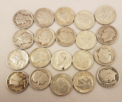 90% US Silver Coins - $2 Face Value in Dimes - Roosevelt and Mercury