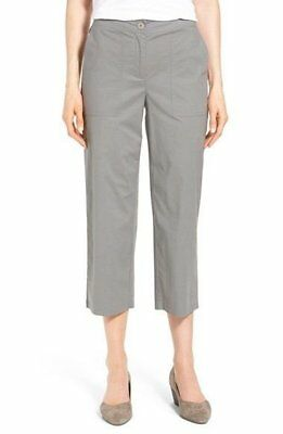 $178 Eileen Fisher Pewter Organic Stretch Poplin Cropped Wide Leg Pants NEW E589