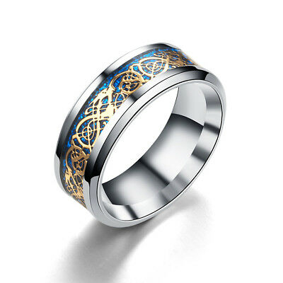 Celt Dragon Band Ring Women Men Stainless Steel Silver Blue Gold Wedding Size 8