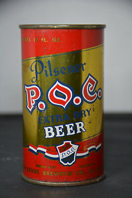P.O.C. Extra Dry Beer flat-top can, Pilsener Brewing, Cleveland, OH **SHARP**