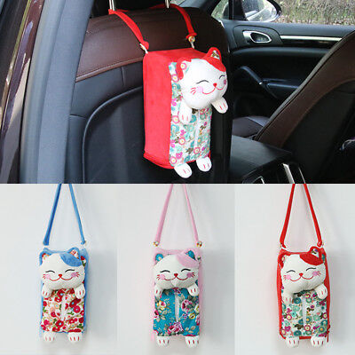 KF_ Cute Cat Home Car Seat Rectangle Hanging Tissue Holder Box Bag Decoration