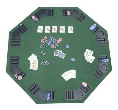 "POKER & BLACKJACK FOLDING TABLE 48"" 8-Player Positions,Drink Holder & Chip Trays"