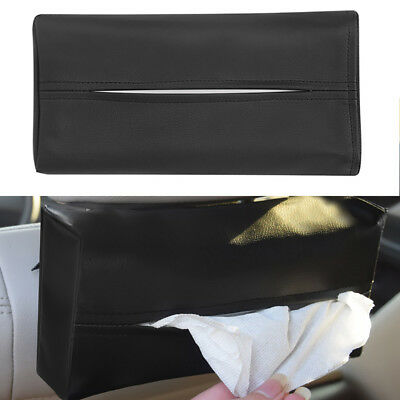 KF_ Auto Car Sun Visor Napkin Paper Tissue Box Holder Faux Leather Accessory D