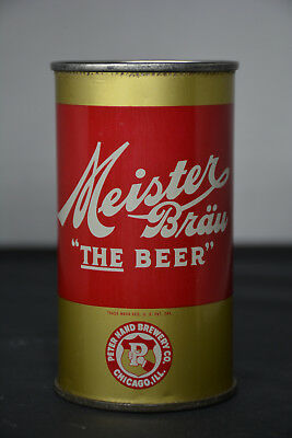 "Meister Bräu ""The Beer"" IRTP O/I flat-top can, Peter Hand Brewery, Chicago #WOW#"