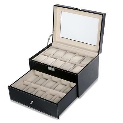 HOT 20 Slot 2 Tier Watch Storage Case Box Display Jewelry Organizer Glass Holder