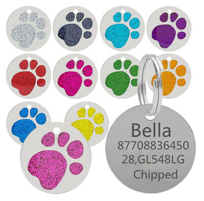 Personalised Engraved Glitter Paw Print Tag Dog Cat Pet ID Tags Name Identity