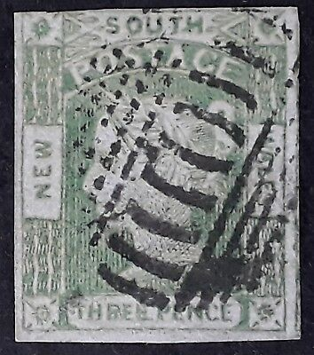 Rare 1852- NSW Australia 3d Emerald green Laureate Stamp Thick Blue Woven paper