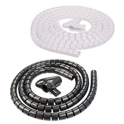2 Metre Cable Tidy Kit PC TV Wire Organizing Wrap Tool Spiral Office Home Clip