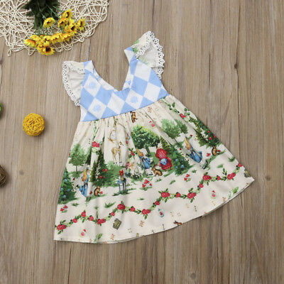 AU Christmas Kids Baby Girl Cartoon Flying Sleeve Cotton Princess Party Dress