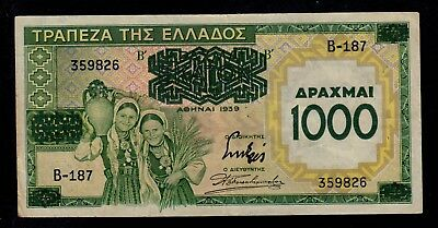 Greece  1000  Drachmai On 100 Drachmai 1939 B Pick # 111  Vf.