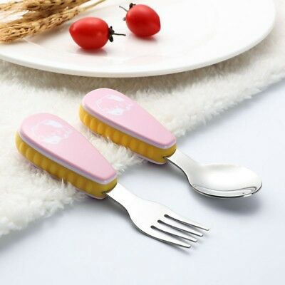 Baby Kids Toddler Fork and Spoon Utensils Feeding Training Child Tableware Set