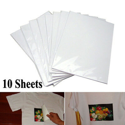 10Pcs A4 Iron On Inkjet Print Heat Transfer Paper T-Shirt Light Dark Fabric