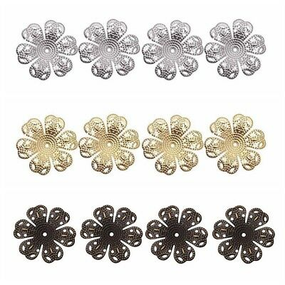 100Pcs Vintage Filigree Flower End Bead Caps DIY Craft Making Jewelry Findings