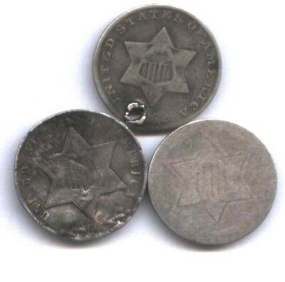 3 Us Three Cent Silver * 1861, 1858, 1852 * All 3 Types !! * Very Affordable !