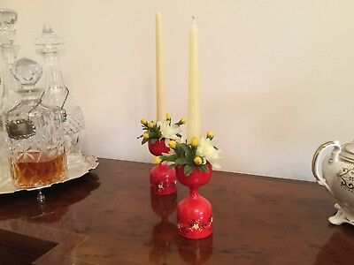 Pair Danish Red Wooden Candlesticks & Floral Surrounds