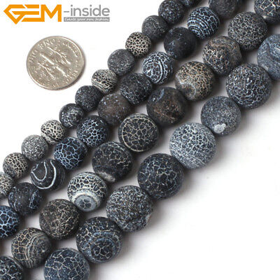 """Natural Gemstone Black Fire Crackle Agate Frost Round Loose Spacer Beads 15"""" UK"""