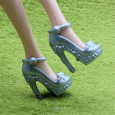 2X Silver Grey Shoes Summer High Heels Sandal Accessories For Barbie Doll GiftFR