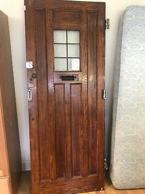 STUNNING SOLID OAK ANTIQUE FRONT DOOR  RARE WITH LEAD WINDOWS Plus Lock With Key