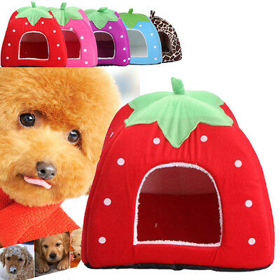 New Soft Strawberry Pet Dog Cat Bed House Kennel Doggy Warm Cushion Basket Cute