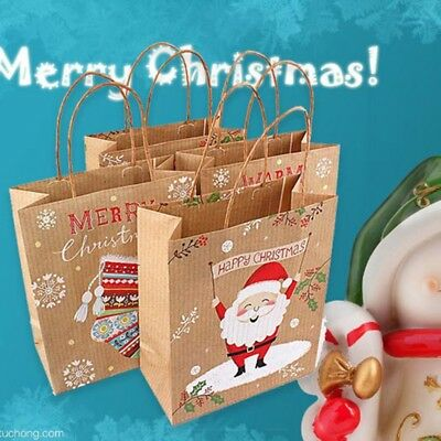 c9f7e3ccf8 Kraft Paper Carrier Present Gift Bags Handle Christmas Festival Shopping NEW
