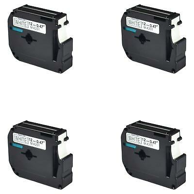 MK 231 Compatible label maker tapes brother p-touch 12mm black on white 12mm 4PK