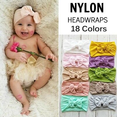 Baby Bunny Rabbit Bowknot Elastic Turban Nylon Headband Hair Band Headwrap NEW