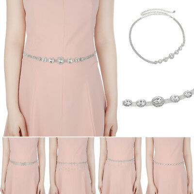 Fashion Silver Diamante Crystal Rhinestone Waist Chain Belt Wedding Waistband