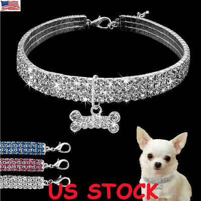 US Bling Dog Necklace Collar Diamante Pendant For Pet Puppy Rhinestone Accessory