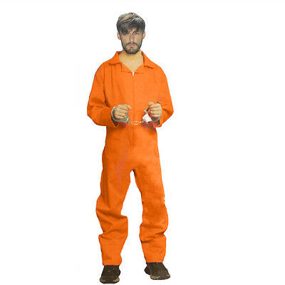 UK Seller Men Prisoner Jumpsuit Stag Party Convict Costume Fancy Dress Halloween