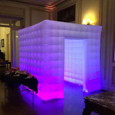 2.5M Inflatable Photo Booth Cube White Air Tent with LED Lights Wedding Party