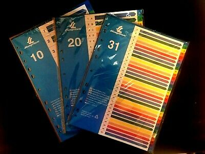 File Dividers A4 With Colored Numerical Index Tabs Various 1-31 Uk