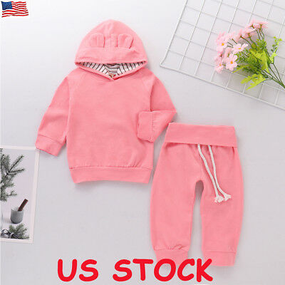 US Newborn Toddler Baby Girl Winter Outfits Plain Clothes Hoodie Tops+Pants Set